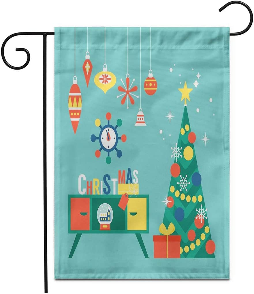 """Adowyee 12""""x 18"""" Garden Flag Flat Modern Creative Christmas Tree and Mid Century Furniture Outdoor Double Sided Decorative House Yard Flags"""