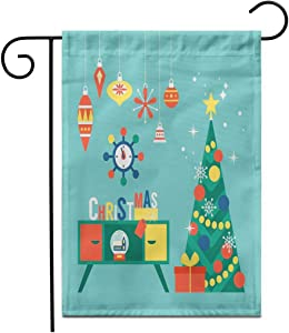 "Adowyee 12""x 18"" Garden Flag Flat Modern Creative Christmas Tree and Mid Century Furniture Outdoor Double Sided Decorative House Yard Flags"
