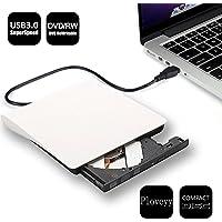 Ploveyy External DVD Writer Portable Ultra External USB 3.0 CD-RW DVD-RW Burner Writer External DVD Drive for Laptops Notebook Desktop PC White