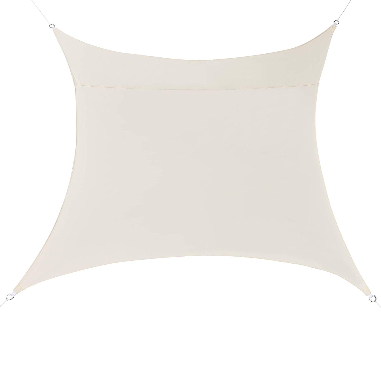 [en.casa] Tenda a Vela Parasole Oscurante Protezione Raggi UV e Vento Impermeabile Quadriforme 4m x 4m Colore Sabbia
