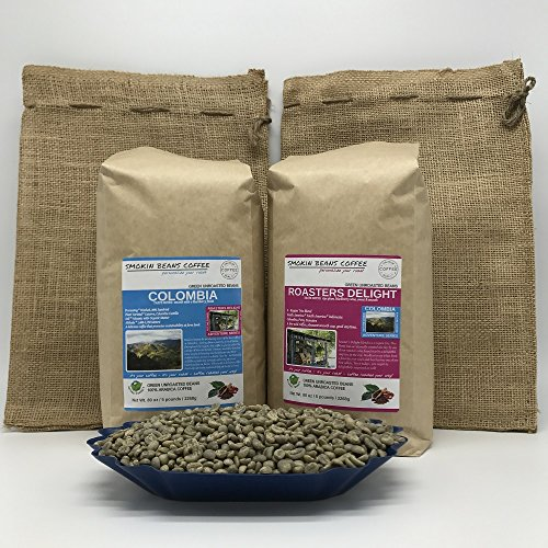 Harvest Blend Coffee - 10-LB COMBO – 5LB COLOMBIA & 5LB ROASTERS DELIGHT BLEND (in 2 FREE BURLAP BAGS) – Green Unroasted Coffee Beans – Specialty-Grade – FRESH-HARVEST – HUILA is known for Producing Best Coffee in Colombia