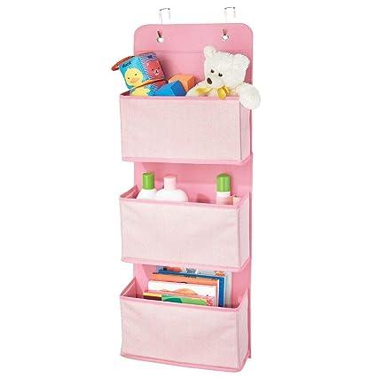 mDesign Organizador de armarios con motivo de espiga – Percheros para puerta con 3 bolsillos grandes – Colgador de ropa con ganchos para la puerta – ...