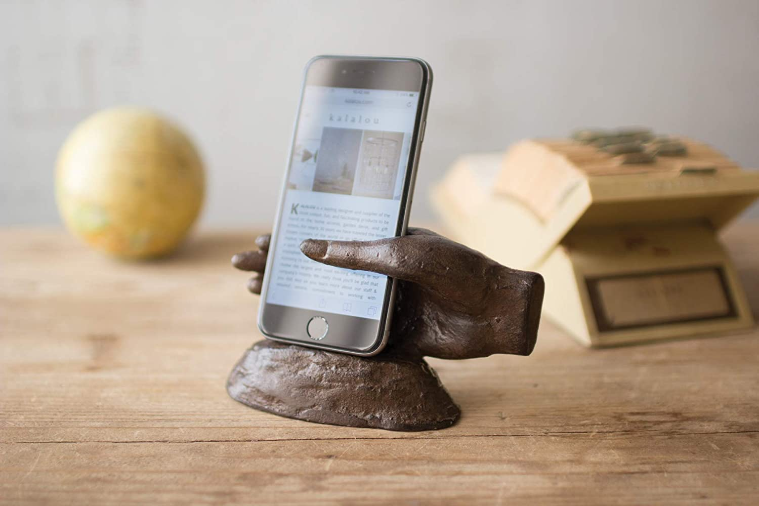 KALALOU Cast Iron Hand Phone Stand Brown One Size