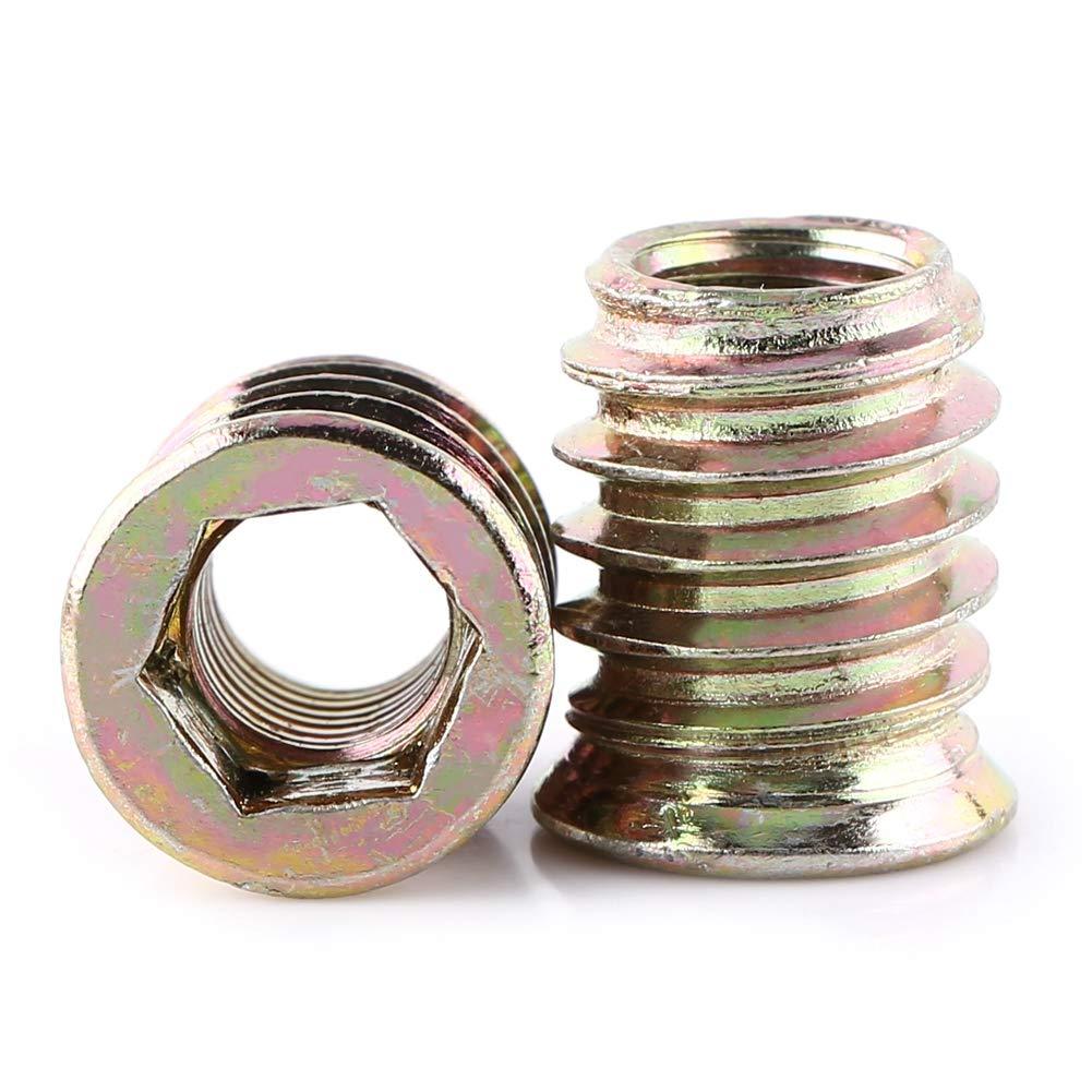 /Écrous dinsertion dentra/înement /à douille hexagonale en acier au carbone 20 pi/èces filet/és pour meubles en bois M8*17mm /Écrou dinsertion