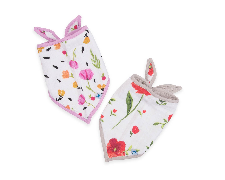Little Unicorn Cotton Bandana Bib 2 Pack - Summer Poppy