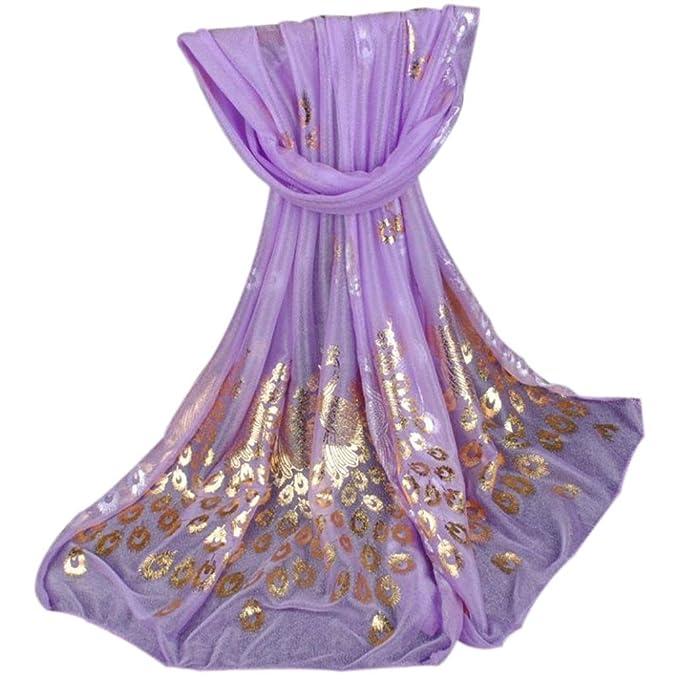 Echarpes et foulards Amlaiworld Mode Femmes Longue Paon Imprimé Mousseline  de soie Echarpe Mesdames châle Filles Grandes Écharpes (170X50cm)  (170X50cm, ... 84d3814c587
