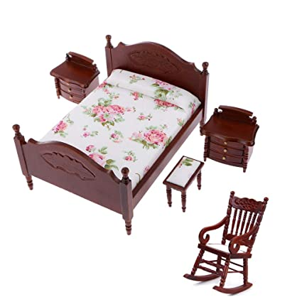 Amazon.com: 1:12 Dollhouse Bedroom Furniture Accessories Set ...