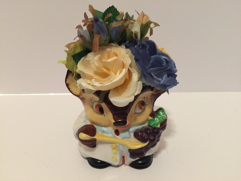 ANIMAL FUN - ANTIQUE CERAMIC KITSCH DEER VASE WITH HANDLE - CREAM, PEACH, BLUE, LIGHT BLUE, AND GREEN/TAN ROSES