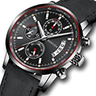 Watches Mens Sports Chronograph Waterproof Analog Quartz Watch with Black Leather Band Fashion Watch