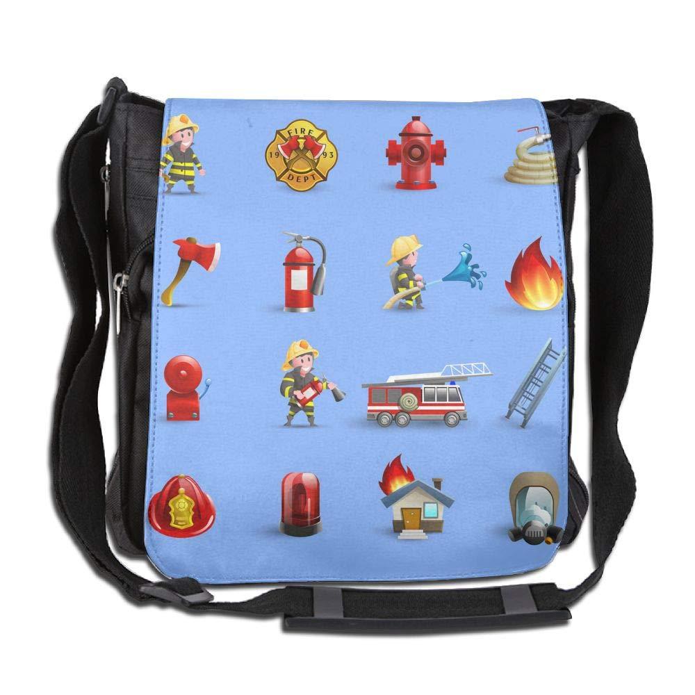 SARA NELL Messenger Bag,firefighters Cartoon Red Blue Set,Unisex Shoulder Backpack Cross-body Sling Bag
