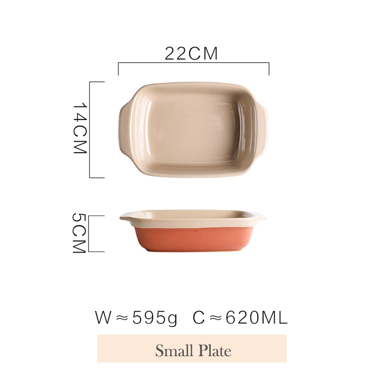 Orange Ceramic Dinner Plate Rectangular Baking Tray Salad Pasta Dish Dinnerware with Double Handle,small