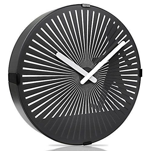 (Betus 12 Inches Non-Ticking Optical Illusion Wall Clock - Animated Zoetrope Wall Clock for Office, Bedroom and Living Room - Battery Operated - Walking Boy)