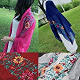 Oversized Shawl on sale deatu Women Fashion Cotton Linen Elegant Embroidery Shawl Headband Pashmina