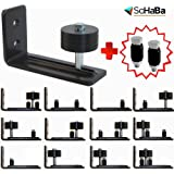 BARN DOOR Adjustable Wall Mount Roller Stay Guide with 14 UNIQUE setup options, BONUS-Channel guides(2), Sits Flush to Floor, Non-Scratch Wheels, Precision Wheel Bearing & 2 Quality Wood Screws