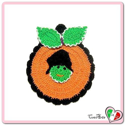 Presina Zucca Arancione Verde E Nera Per Halloween Alluncinetto