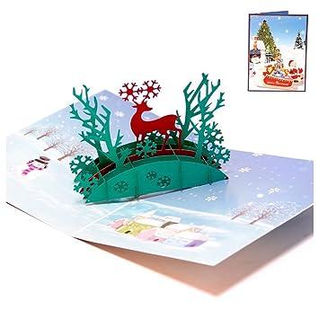 Weihnachtskarten Origami.Toogoo R Happy Schnee Deer Pop Up Grußkarte 3d Weihnachtskarten