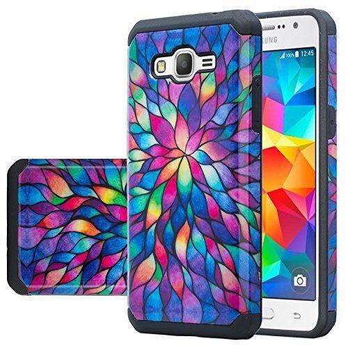 Coverlab Case for Samsung Galaxy J3V, Sol, Sky, Express Prime, Amp Prime, J3 - Slim Hybrid Shockproof Hard TPU Phone Cover - Rainbow Flower