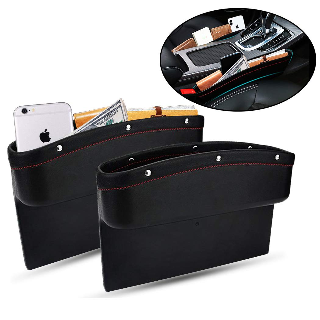 TOLUCKS Car Seat Pockets PU Leather Car Console Side Organizer Seat Gap Filler Catch Caddy for Car Interior Accessories,Cellphone Wallet Coin Key with Non-Slip Mat 9.2x6.5x2.1 inch Black(2 Pack) by TOLUCKS