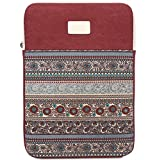 BLOOMSTAR 13 Inch Bohemian Canvas Protective Laptop Sleeve Bag Notebook Case Cover for MacBook, Chromebook, Acer, Dell, HP, Samsung, Sony (Vertical, Red)