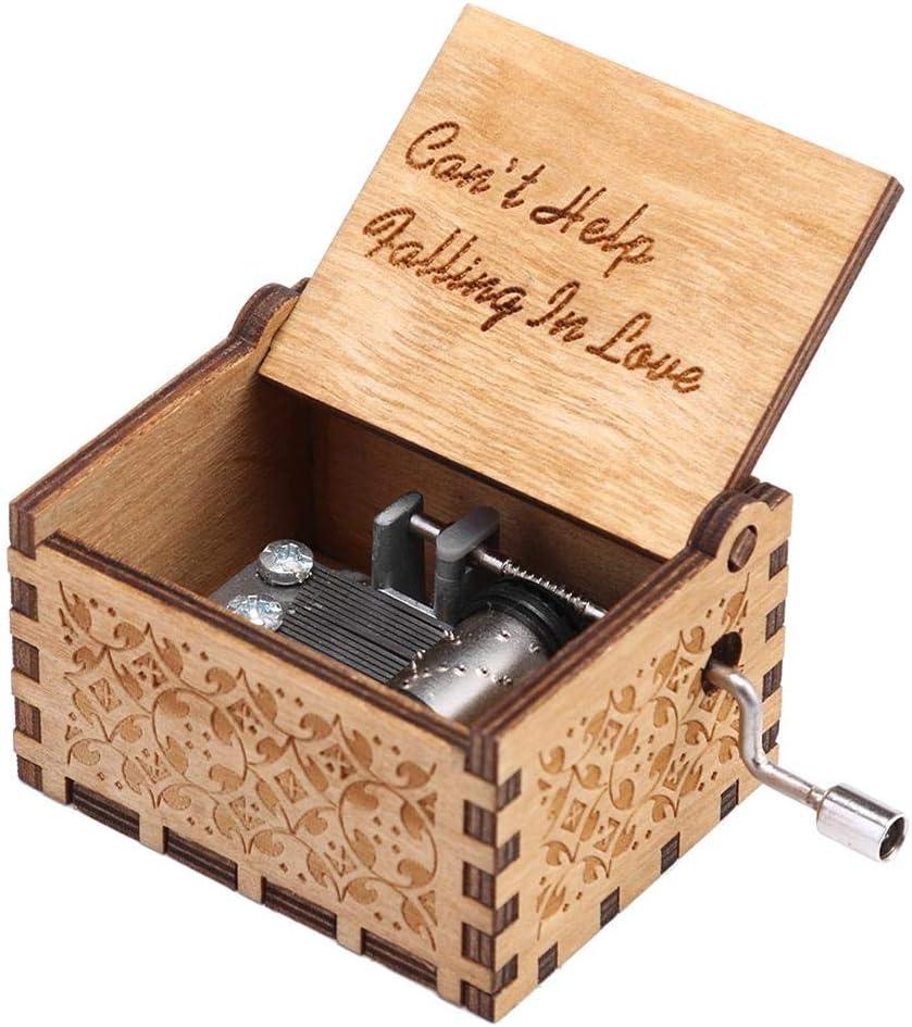 Carillon in Legno Carillon Stile Vintage Carillon a orologeria Carillon a manovella Scatola Regalo Decorazione da Tavolo per Bambini