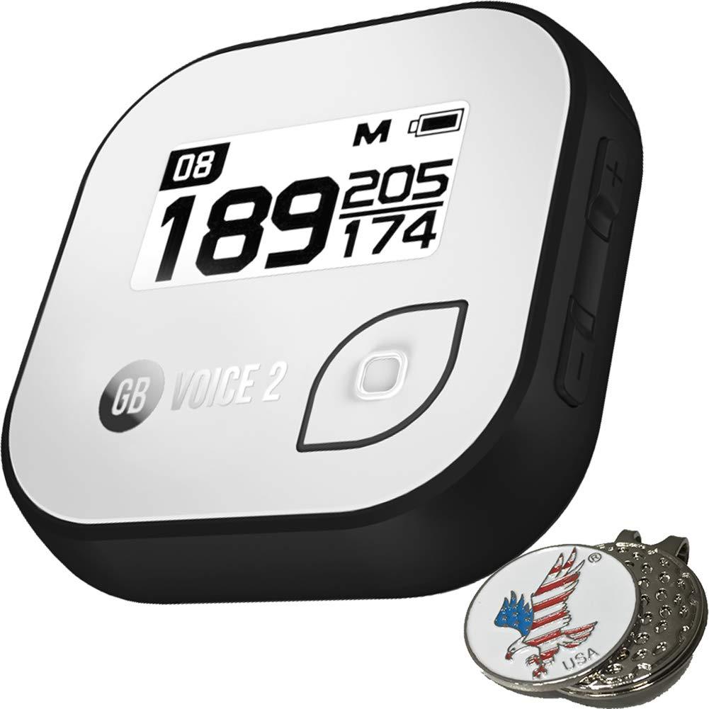 Golf Buddy Bundle Voice 2 GolfBuddy Voice2 Easy-to-Use Talking GPS, White/Black + 1 Custom Ball Marker Hat Clip Set (American Eagle) (Black/White)