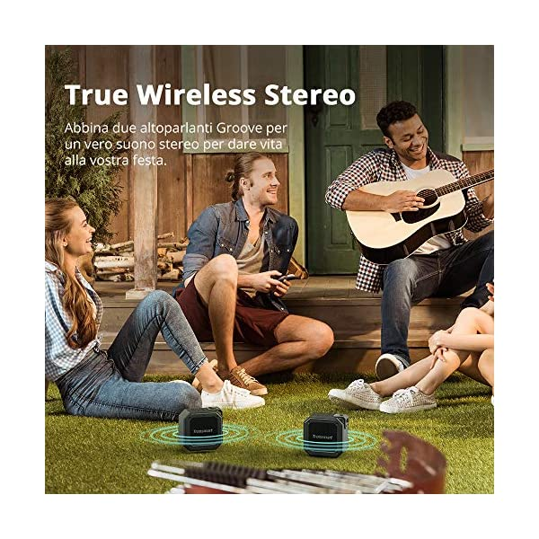 Tronsmart Cassa Bluetooth Waterproof IPX7, Riproduzione di 24 Ore con Basso, TWS Stereo Suono 360°, Altoparlante… 5 spesavip