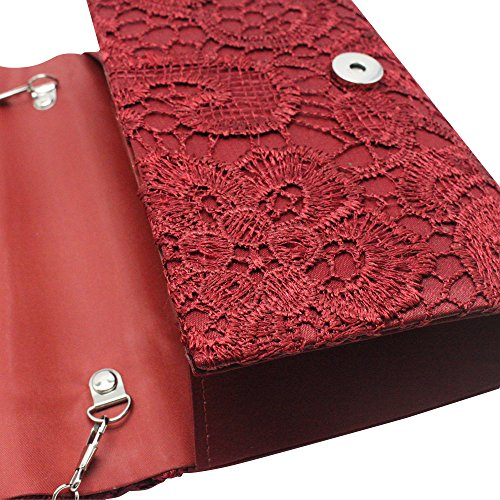Wedding Lace Clutch Party Burgundy Bag Purse Floral Womens Envelope Red Elegant Handbag Cckuu xtqwzgXSx