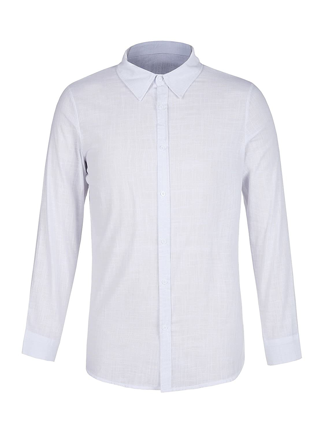 17b776b62ee Makkrom Mens Casual Loose Long Sleeve Shirts Button Up Linen Cotton Summer  Beach T Shirt Tops at Amazon Men s Clothing store