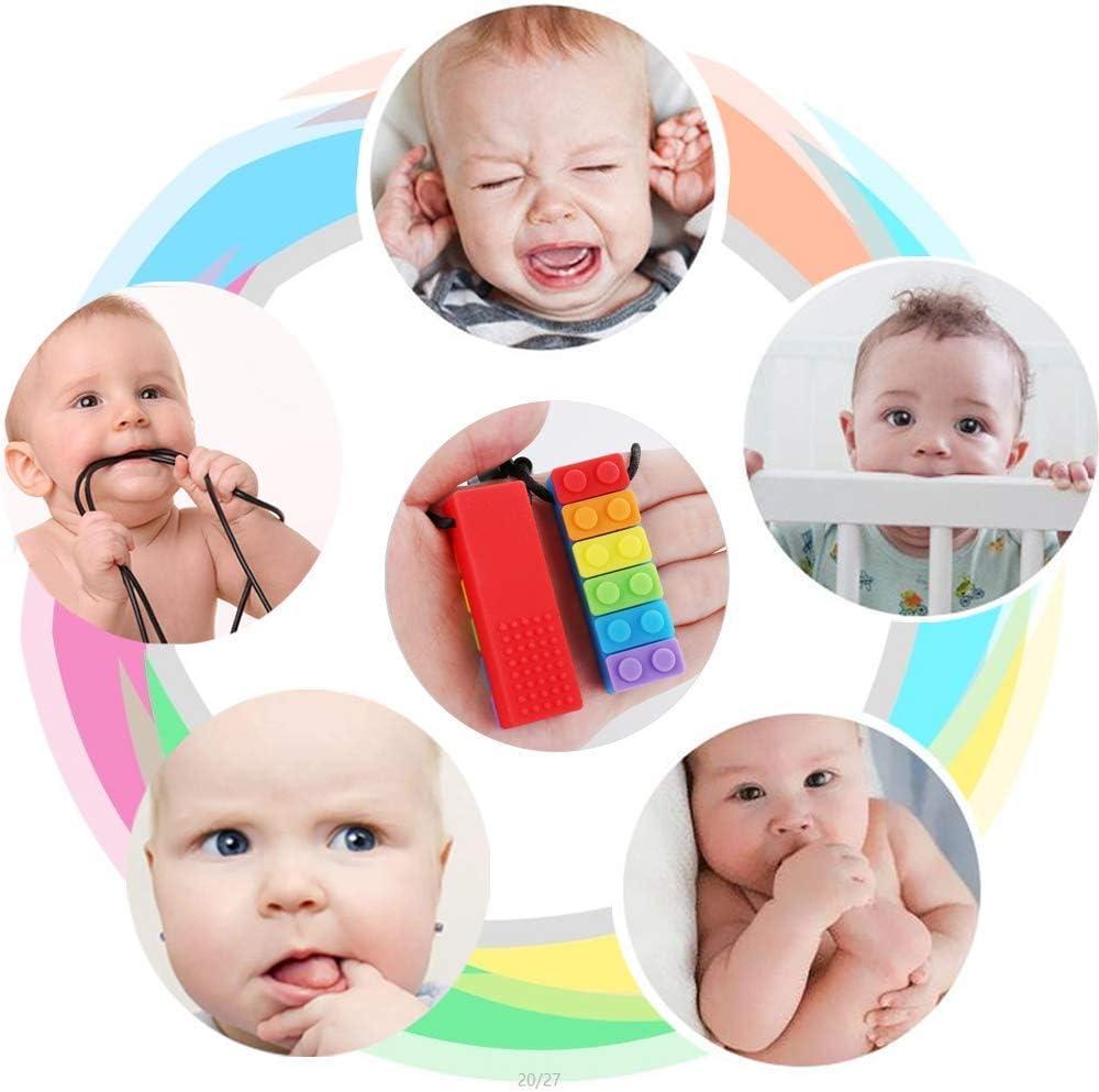id/éal pour les enfants autisme//TDAH//b/éb/és de dentition//moteur sensoriel//oral//anxi/ét/é Richaa Collier /à m/âcher sensoriel jouet de dentition color/é avec 4 pi/èces