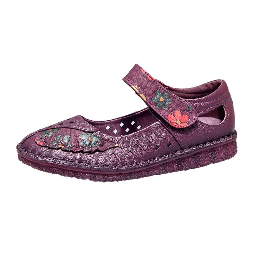 Flats Mary Jane Shoes Womens Comfortable Walking Classic National Style Buckle Ankle Strap Style Ballet Purple