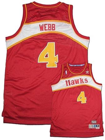 b76b20980 adidas NBA Atlanta Hawks White Swingman Jersey Spud Webb  4
