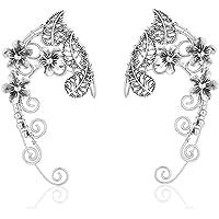 Elven Ear Cuffs for Women, Handmade Elf Fairy Earrings Cuff Wrap Clip-on Filigree Earrings for Fantasy Fairy Halloween…