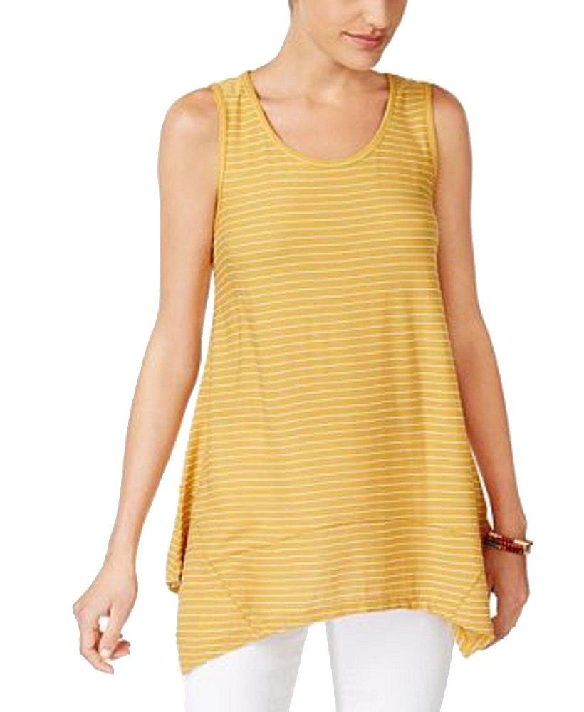 Style & Co. Striped Handkerchief-Hem Top (Gold Stripe, XL) by Style & Co.