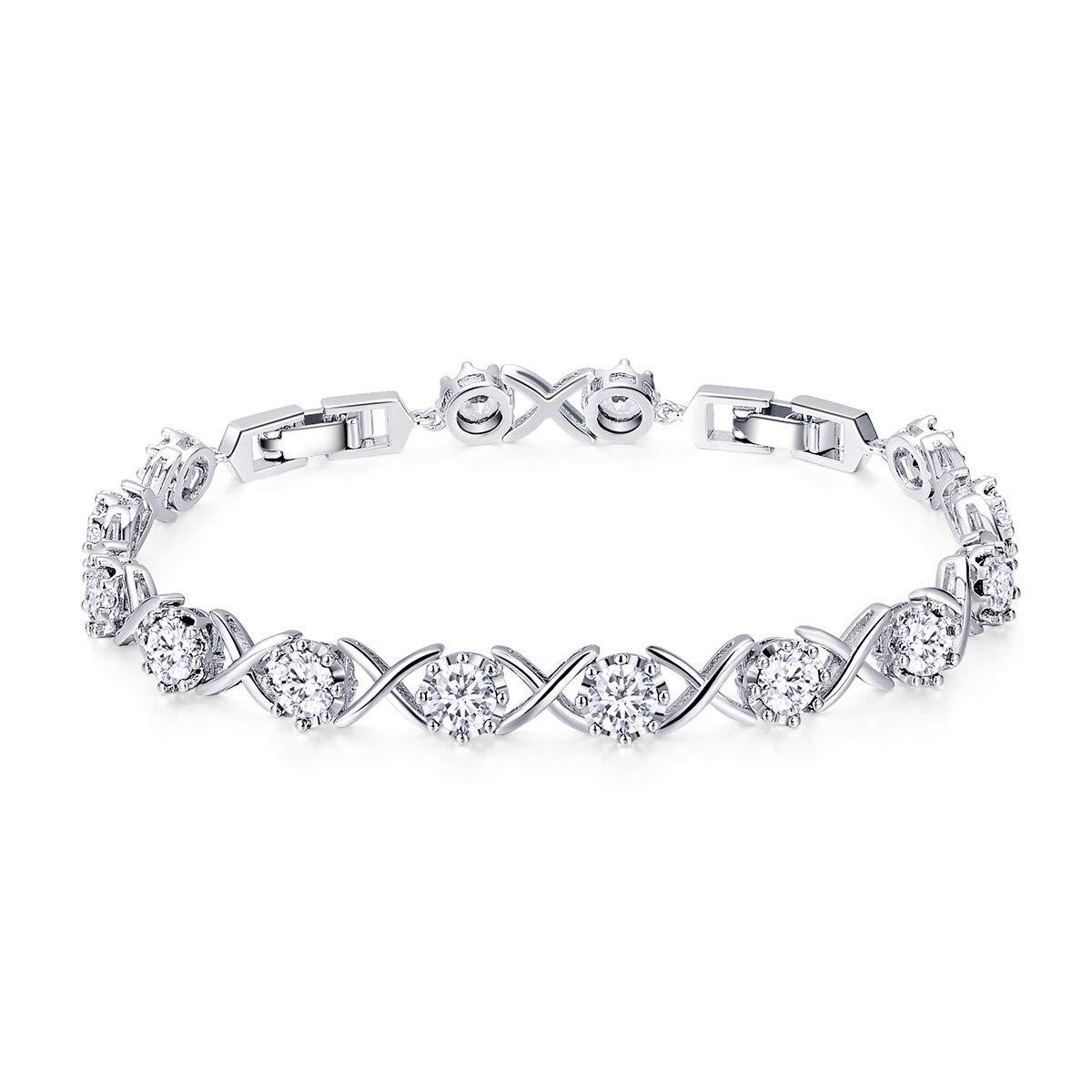 WOSTU Women Tennis Bracelets Platinum Plated Infinity XO Link Cubic Zirconia Bracelets Gifts for her