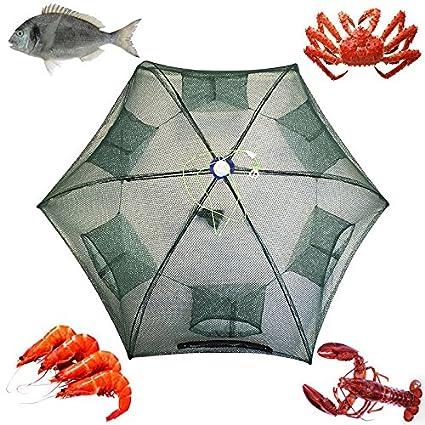 1pc Fishing Bait Trap Cast Dip Net Cage Crab Fish Minnow Crawdad Shrimp Foldable