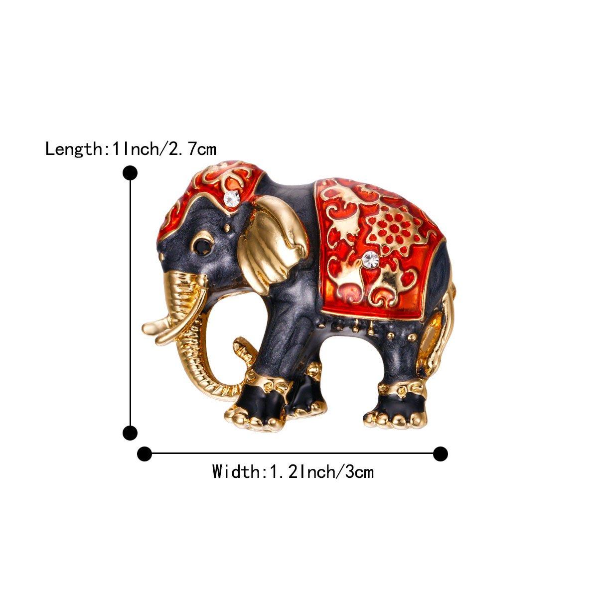 BriLove Womens Lovely Cute Crystal Elephant Enamel Brooch Pin