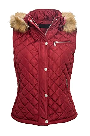 the best attitude 4dc92 453d0 Rock Creek Selection Weste Damen Steppweste Damenjacke Kapuze mit Fell  Damenweste Steppjacke D-63 S-XL