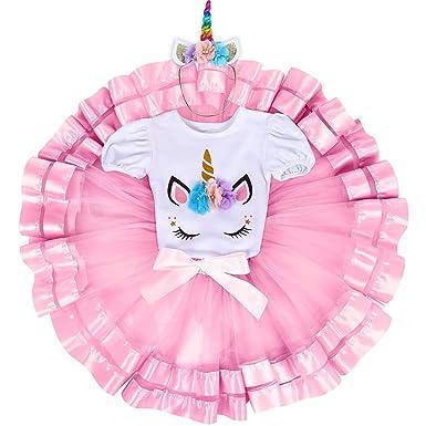 d7bd79a5f Amazon.com  3PCS Unicorn Princess Outfit Baby Girls 1st Birthday ...