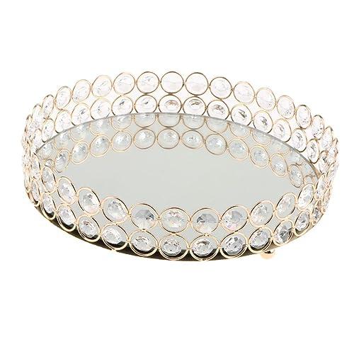B Blesiya Bandeja Decorativa Borde de Hueco de Material Metal Cristal - 25cm de Oro