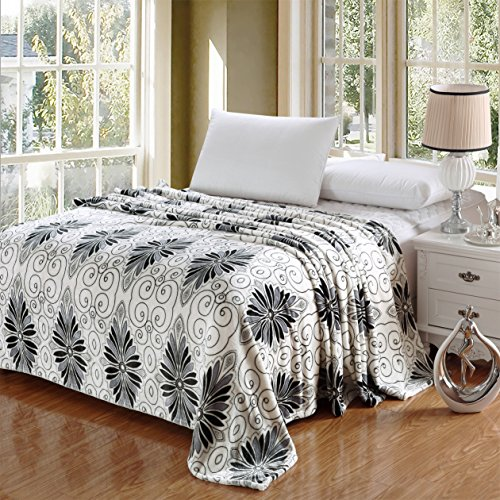 "Queen Scroll (Luxurious Oversized Printed Super Soft Plush Flannel Blanket , Silky Throw in Full/Queen Size (79""x87"