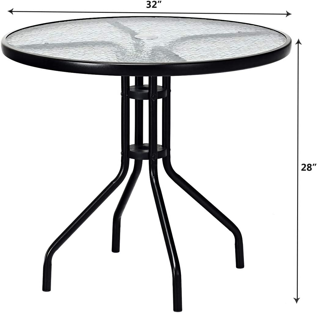 "Goplus 32"" Outdoor Patio Table Round Shape Steel Frame Tempered Glass Top with Umbrella Hole Commercial Party Event Furniture Conversation Coffee Table for Backyard Lawn Balcony Pool (Black): Kitchen & Dining"