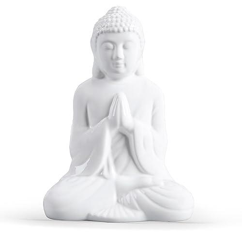 FORLONG FL6015 Buddha Statue Idol Decorative Figurine Praying Buddha Statue, Serene Medium Buddha Statue-White