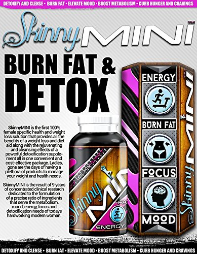 Skinny Mini Clinical Strength Detoxifying Fat Burner for Women • Targets Belly Fat • Powerful Anti-Aging Antioxidants • Boosts Mood • Tighten and Tones Naturally