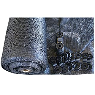 SHANS Shade Cloth Fabric Black 40% Sunshine Ultraviolet Blocking Rate Free Clips (20ft x 50ft)