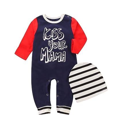 c67c02f2db4d Amazon.com  Baby Autumn Jumpsuit Cap Outfits for 0-24 Months