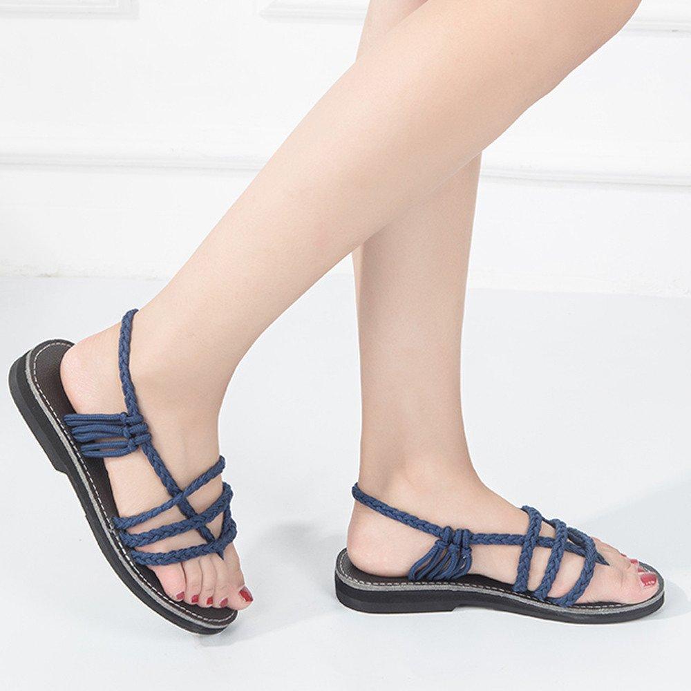 Clearance Sale Shoes For Shoes,Farjing Women Cross Roman Pinch Sandal Summer Shoes Slipper Fashion Beach Flat Shoes(US:8.5,Blue) by Farjing (Image #4)