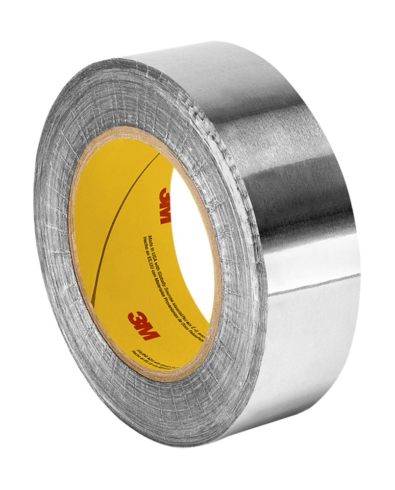 3M 1170 Silver Aluminum Foil Tape with Conductive Acrylic Adhesive, 18 yd length, 1.89'' width, Roll