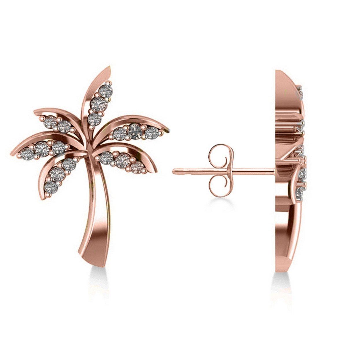 Allurez Diamond Palm Tree Summer Island Earrings in 14k Rose Gold (0.20ct)