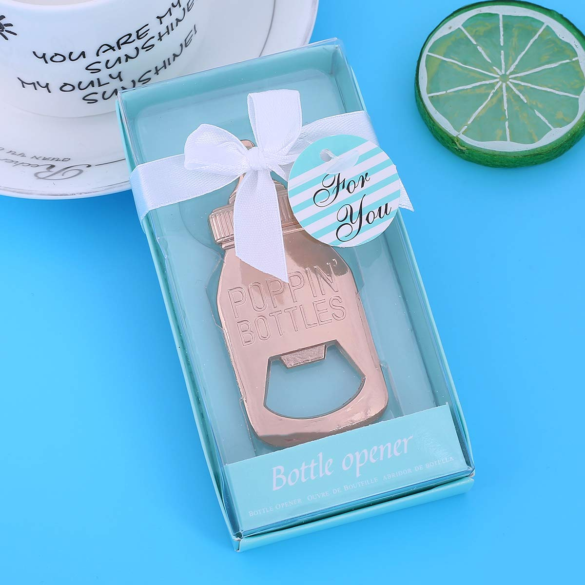 24 pcs Baby Shower Return Gifts for Guest Supplies Poppin Baby Bottle Shaped Bottle Opener Wedding Favor with Exquisite Packaging Party Souvenirs Gift Decorations by WeddParty (Blue 24pcs) by WeddPtyFr (Image #4)