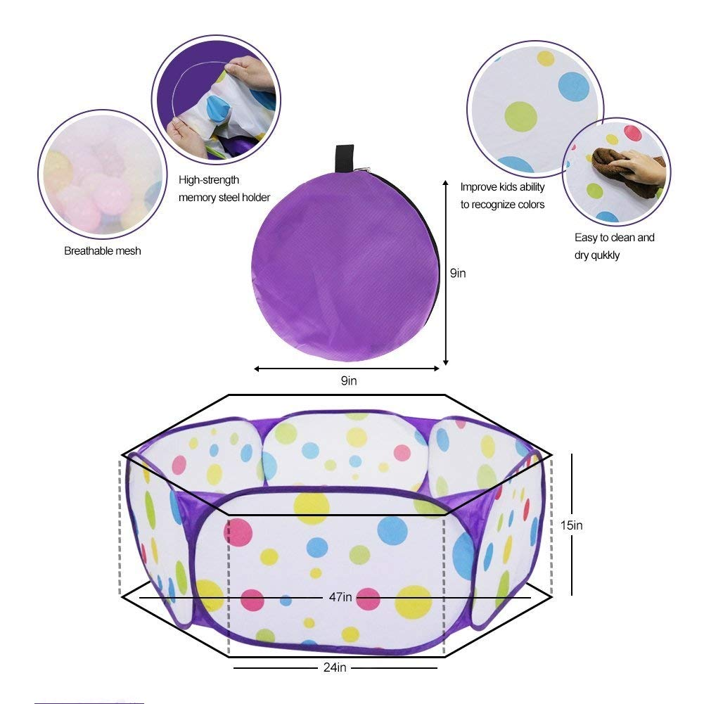 Kids Ball Pit, Karida Large Pop Up Toddler Ball Pits Tent for Toddlers, Children for Indoor Outdoor Baby Ball Pool Playpen with Zipper Storage Bag, Balls Not Included (Purple) by Karida (Image #5)